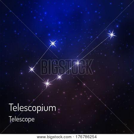 Telescope constellation in the night starry sky. Vector illustration