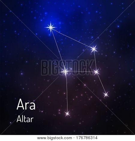 Ara Altar constellation in the night starry sky. Vector illustration