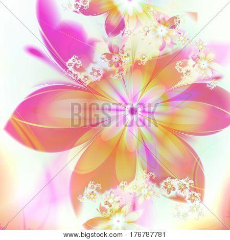 Spring. Flowers. Riot of colors. 3D surreal illustration. Sacred geometry. Mysterious psychedelic relaxation pattern. Fractal abstract texture. Digital artwork graphic astrology magic