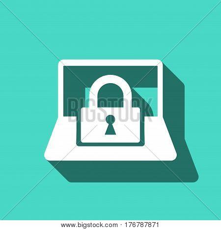 laptop lock icon stock vector illustration flat design