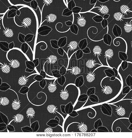 Seamless lace pattern with raspberry on black background. Vector illustration