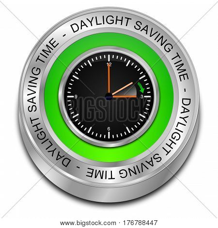green Daylight saving time button - 3D illustration