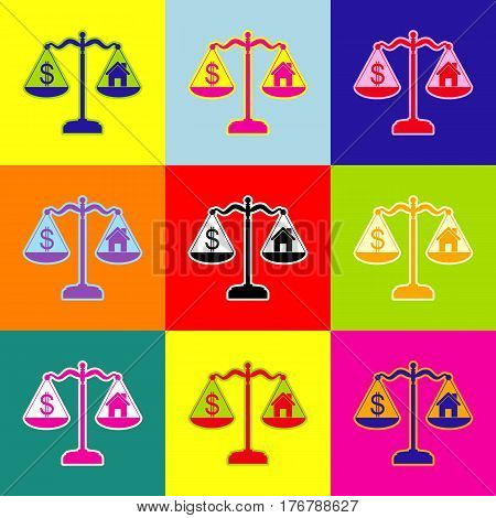 House and dollar symbol on scales. Vector. Pop-art style colorful icons set with 3 colors.
