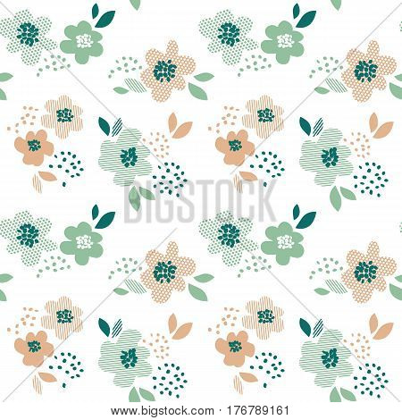 Simple pale color floral decorative seamless pattern in geometry style. Spring flower repeatable element for cloth, fabric, background, wrapping paper