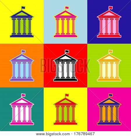 Historical building with flag. Vector. Pop-art style colorful icons set with 3 colors.
