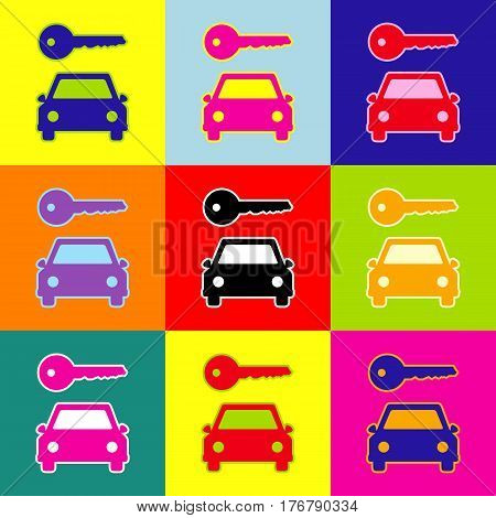 Car key simplistic sign. Vector. Pop-art style colorful icons set with 3 colors.