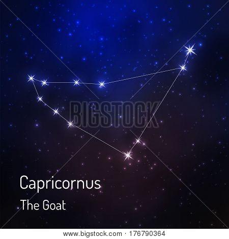 Capricornus goat constellation in the night starry sky. Vector illustration