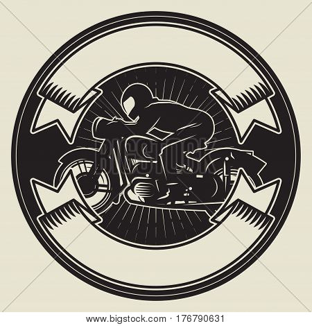 Biker riding a motorcycle. Bikers event or festival emblem with space for text. Motorcycle label t-shirt design. Vector illustration.