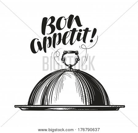 Restaurant cloche for hot dishes. Tray sketch. Lettering for menu design diner, eatery or cafe. Vector illustration isolated on white background