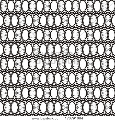 Vector illustration of seamless geometric black-and-white pattern with ellipses