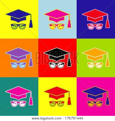 Mortar Board or Graduation Cap with glass. Vector. Pop-art style colorful icons set with 3 colors.