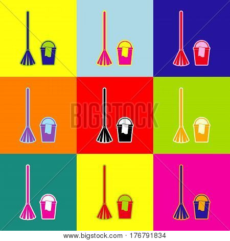 Broom and bucket sign. Vector. Pop-art style colorful icons set with 3 colors.