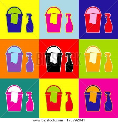 Bucket and a rag with Household chemical bottles. Vector. Pop-art style colorful icons set with 3 colors.