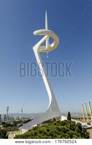 Barcelona Spain - March 17 2017: Montjuic Communications Tower at park. It is a telecommunication tower designed by Santiago Calatrava. Construction on the tower began in 1989 and was completed in 1992