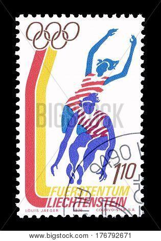 LIECHTENSTEIN - CIRCA 1976 : Cancelled postage stamp printed by Liechtenstein, that shows Long jump.