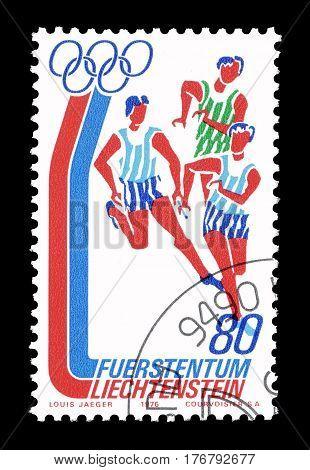 LIECHTENSTEIN - CIRCA 1976 : Cancelled postage stamp printed by Liechtenstein, that shows Race.