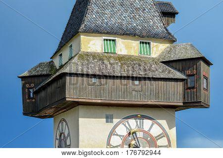 GRAZ, AUSTRIA - JUN 04: Clock tower (Uhrturm) on June 4, 2016. in Graz, Austria