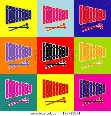 Xylophone sign. Vector. Pop-art style colorful icons set with 3 colors.