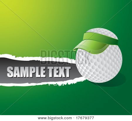 ripped paper with golf ball with visor