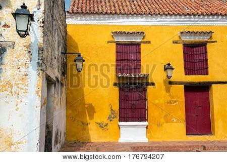 Yellow And Red Colonial Architecture
