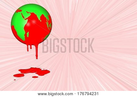 3D.Ilustration.  World Haemophilia day 17 April. Earth globe dripping with blood.