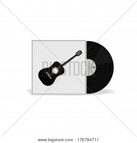 Realistic Vinyl Record with Cover Mockup. Retro design. Front view