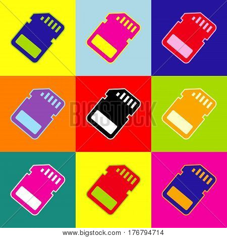 Memory card sign. Vector. Pop-art style colorful icons set with 3 colors.
