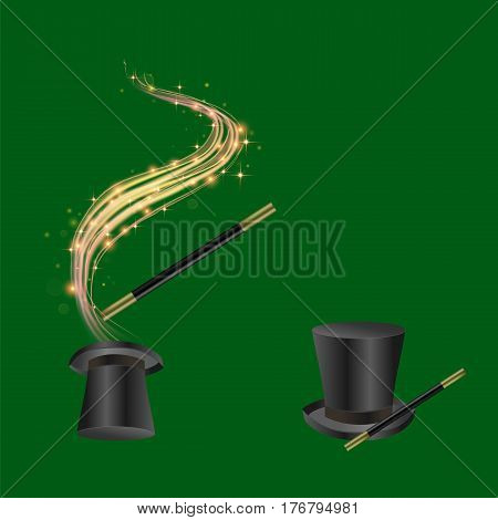 Realistic Magic Wand and Hat with Starry Lights on Green Background