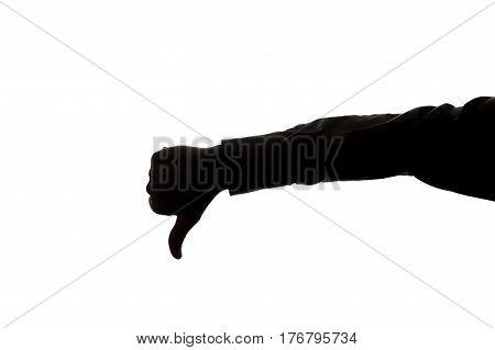 Man's Hand Shows A Thumb Down - Silhouette