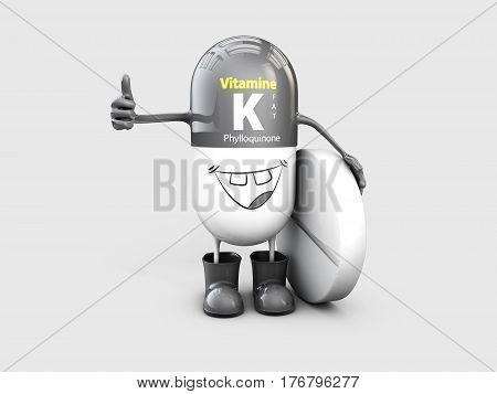 Vitamin K shining pill cartoon capsule, 3d illustration