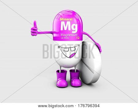 Mineral Mg Magnesium shining pill cartoon capsule icon, 3d illustration