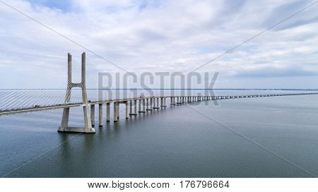 Aerial view of the Vasco da Gama Bridge over the Tagus River in Lisbon Portugal