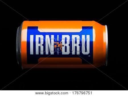 London, Uk - March 15, 2017: Can Of Irn-bru Lemonade Soda Drink On Black. Produced By Barr In Scotla