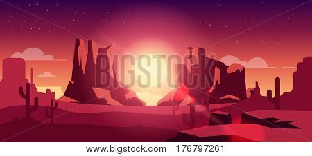 Stock vector illustration horizontal background mountain desert landscape flat style, sunset sunrise sunshine, solar beams, sunlight, design element for print, printed materials, site header, brochure