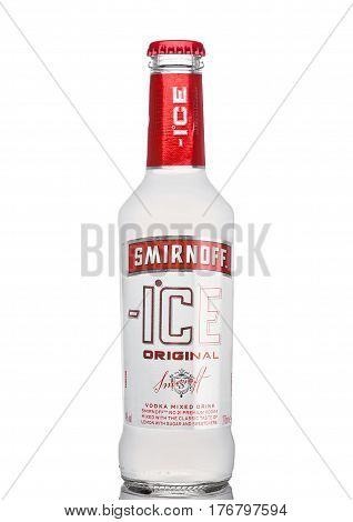 London, Uk - March 15, 2017: Bottle Of Smirnoff Ice Original On White. Established Around 1860. Owne
