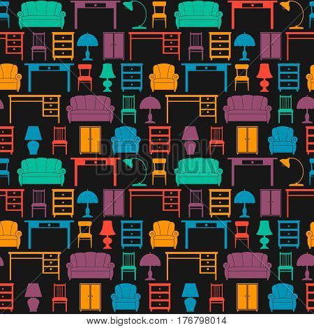 seamless background with icons of furniture. vector pattern. chair armchair sofa cupboard table lamp floor lamp table.