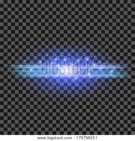 Starry Light Background. Blue Glowing Lines. Speed Motion Effect. Sparcle Glitter Trail
