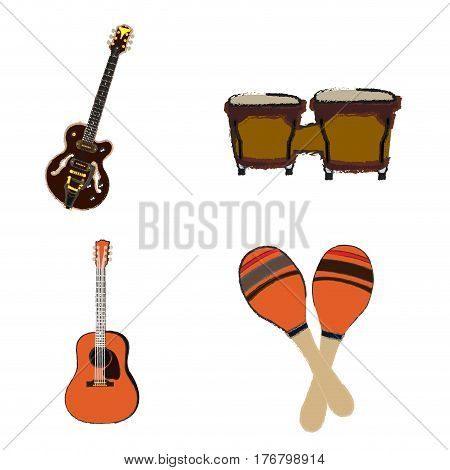 Set of different musical instruments on a white background, Vector illustration