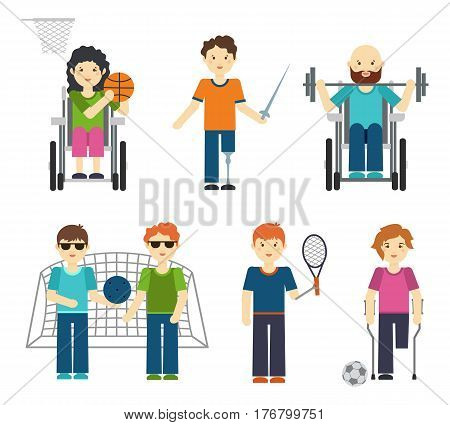 Disabled sports vector illustration. Handicapped people in sport, wheelchair basketball athlete isolated on white background