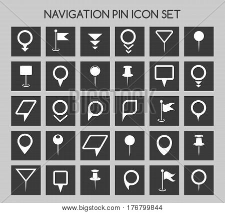 Navigation pin icons. Map location marker and web pointer simple vector elements. Navigation landmark template of set illustration