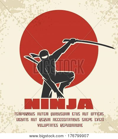 Ninja retro poster vector illustration. Black silhouette of japanese fighter on red sun background. Martial assassin with sword