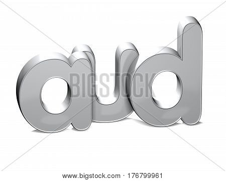 3 D Currency AUD over white background.
