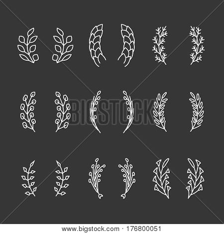 Laurel wreaths thin line icons. Emblem with laurel branch for award or anniversary, vector illustration