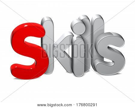 3 D Word Skills over white background.