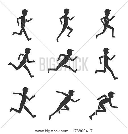 Black man running figure isolated on white background. Man motion and activity vector pictograms. Black silhouette man run motion illustration