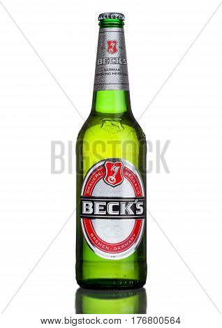 London, Uk - March 15, 2017: Bottle Of Becks Beer On White Background. Becks Brewery Was Founded In