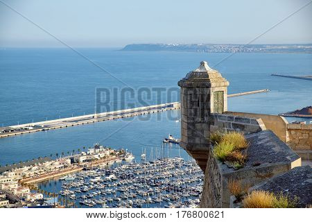 Watch Tower, sentry box in santa barbara castle with the sea. Alicante Spain