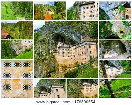Postojna, Slovenia - View of the Predjama Castle, a renaissance castle partly built within a cave mouth and now serves as a famous tourist destination in Postojna, Slovenia. Collage