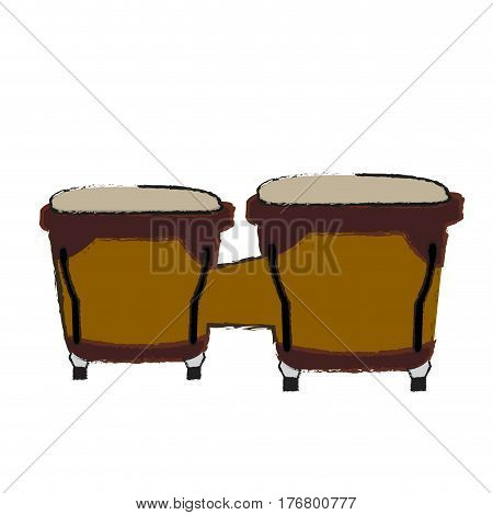 Isolated bongo drums on a white background, Vector illustration
