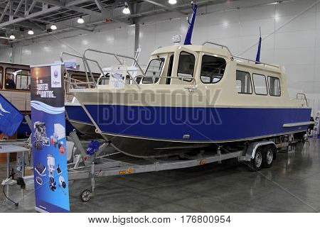 MOSCOW - MARCH 09 2017: Passenger Boat Samara 850 TR for 10 International boat show in Moscow. Russia.